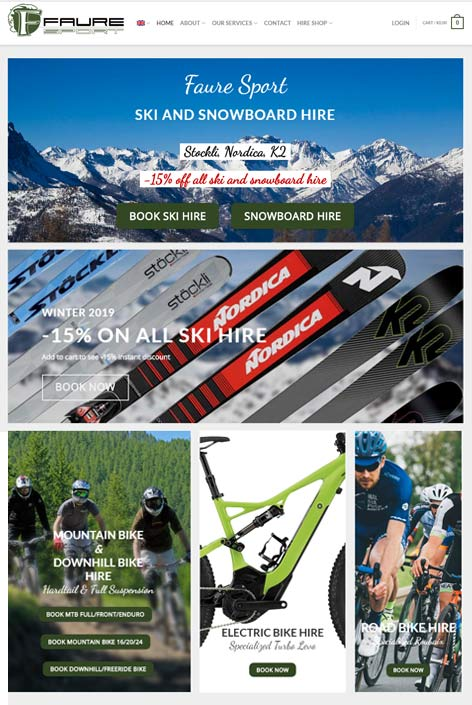 Faure Sport, Sauze d'Oulx,  website  design by Alps Creative