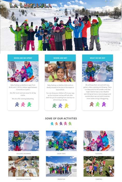 Baby Parking La LIbellula, Sauze d'Oulx,  website  design by Alps Creative