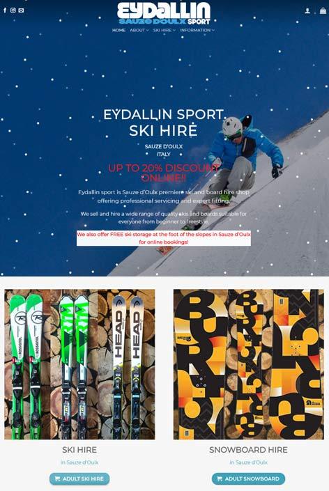 Eydallin Sport ski hire, Sauze d'Oulx,  website  design by Alps Creative
