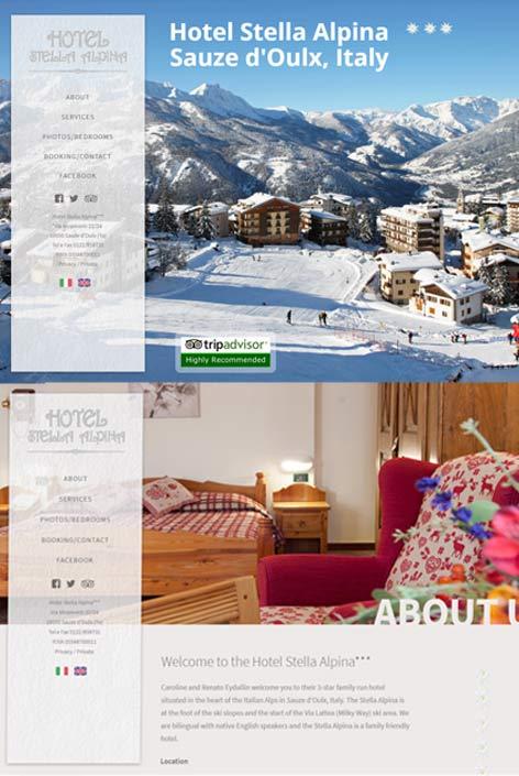 Hotel Stella Alpina, Sauze d'Oulx,  website  design by Alps Creative