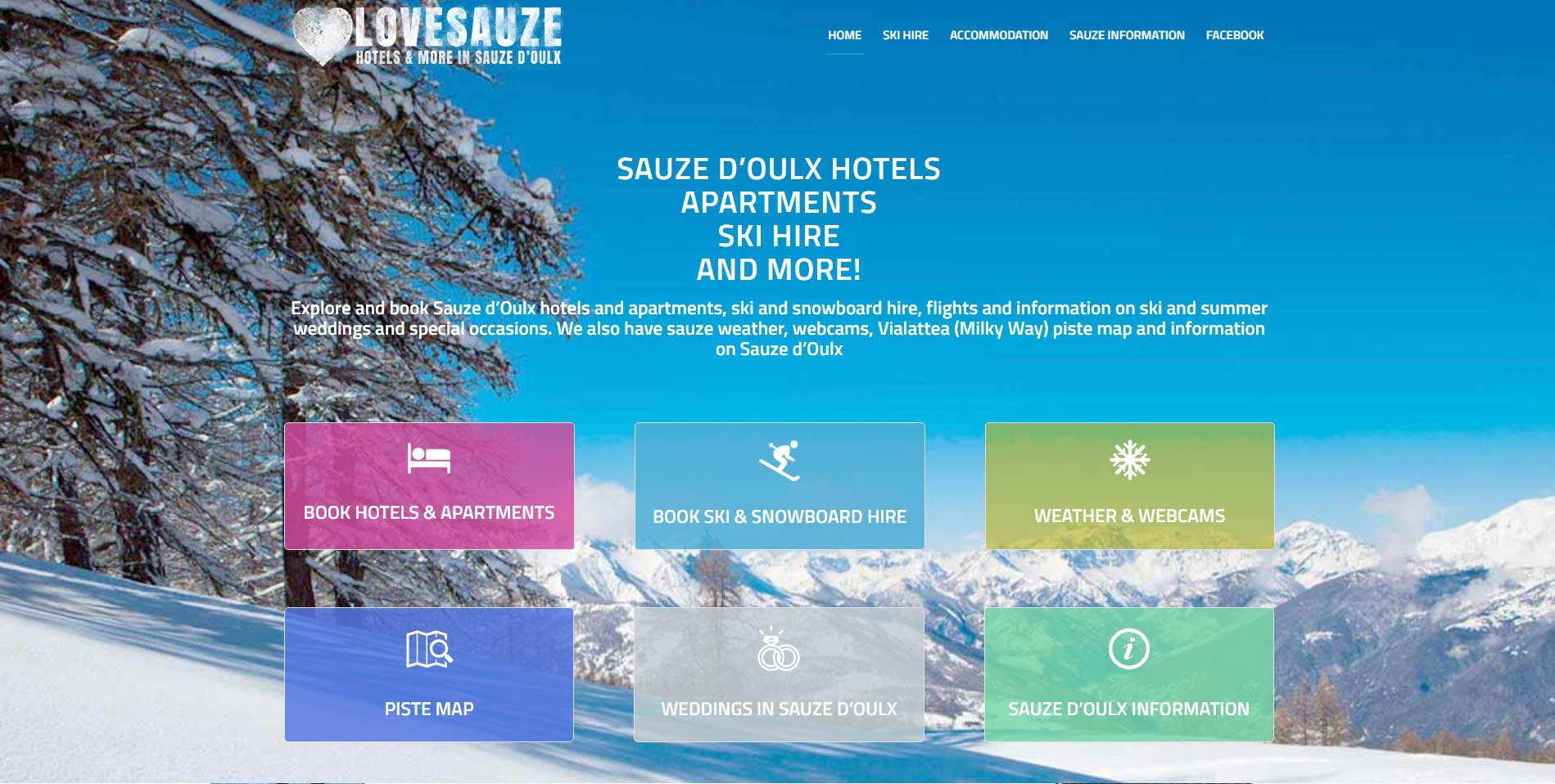 Love Sauze, Sauze d'Oulx, website  design by Alps Creative