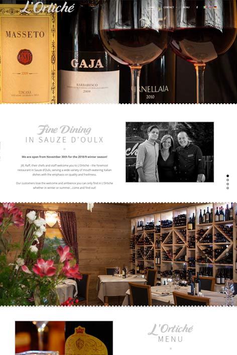 Ristorante L'Ortiche, Sauze d'Oulx,  website  design by Alps Creative